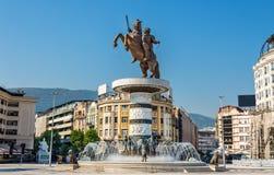 Monumento di Alessandro Magno a Skopje fotografia stock