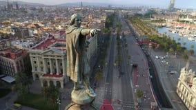 Monumento di Columbus a Barcellona archivi video