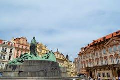 Monumento di Jan Hus a Praga Fotografia Stock