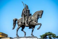 Monumento di Scanderbeg a Tirana fotografie stock libere da diritti
