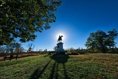 Monumento do campo de batalha de Gettysburg no por do sol no outono Imagem de Stock Royalty Free