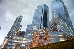 Monumento do globo em Central Park New York Imagem de Stock