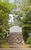 Monumento a Doi Toshitada nel castello di Echizen Ohno, Giappone Fotografie Stock