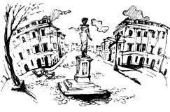 Monumento a Duc de Richelieu en Odessa Odessa Ejemplo de la tinta de Digitaces Cuadrado del alcalde Imágenes de archivo libres de regalías