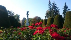 Monumento e fiori rossi Fotografia Stock Libera da Diritti