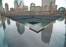 9/11 monumento en el punto cero del World Trade Center Fotos de archivo