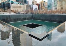 9/11 monumento en el punto cero del World Trade Center Imágenes de archivo libres de regalías