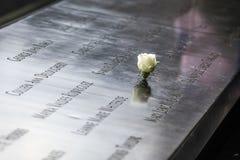 Monumento en el punto cero del World Trade Center Imagen de archivo