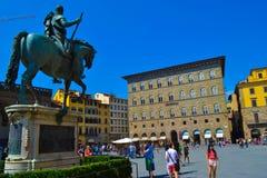 Monumento equestre de Cosimo mim no della Signoria da praça Floren fotos de stock royalty free
