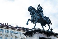 Monumento equestre, quadrato di San Carlo, Torino, Piemonte, Italia fotografia stock