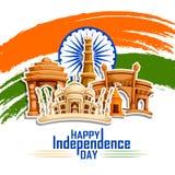 Monumento famoso de la India en el fondo indio para el Día de la Independencia feliz Foto de archivo libre de regalías