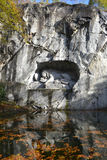 Monumento famoso del leone in Lucerna Fotografie Stock