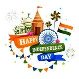 Monumento famoso dell'India nel fondo indiano per la festa dell'indipendenza felice Fotografia Stock