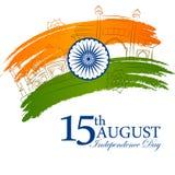 Monumento famoso dell'India nel fondo indiano per la festa dell'indipendenza felice Fotografia Stock Libera da Diritti