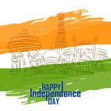 Monumento famoso dell'India nel fondo indiano per la festa dell'indipendenza felice Fotografie Stock Libere da Diritti