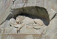 Monumento famoso do leão na lucerna, Suíça Fotografia de Stock Royalty Free