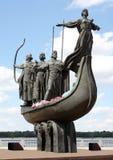 Monumento famoso a los fundadores míticos de Kiev Fotos de archivo libres de regalías