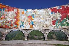 Monumento Georgiano-ruso de la amistad cerca de Gudauri, Georgia imagen de archivo