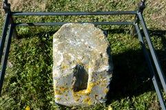 Monumento histórico de piedra de la encuesta sobre el ángulo - Charlottetown - Canadá Fotos de archivo libres de regalías