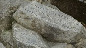 Monumento histórico do owacki do 'de Juliusz SÅ do poeta no grande cemitério de Montmartre, Paris, França Fotos de Stock