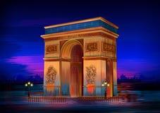 Monumento histórico famoso de Arc de Triomphe de París ilustración del vector