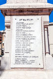 Monumento a las víctimas de WWI: Nombres de los soldados llevados en Vila Nova de Famalicao que murió en Francia Imagen de archivo
