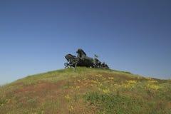 Monumento leggendario di Tachanka su una collina Immagine Stock