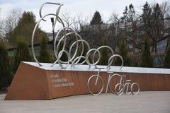 Monumento letão do passeio da unidade dos ciclistas, Sigulda, Letónia Foto de Stock Royalty Free