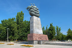 Monumento a los primeros constructores navales en Kherson, Ucrania Imagen de archivo