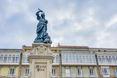 Monumento a Maria Pita, un Coruna, Galicia, España. Imagen de archivo