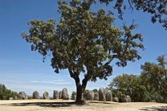 Monumento megalitico di Almendres, Evora Immagini Stock Libere da Diritti