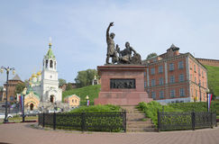 Monumento a Minin y a Pozharsky en el cuadrado de la unidad de Peopl Nizhny Novgorod Imagenes de archivo