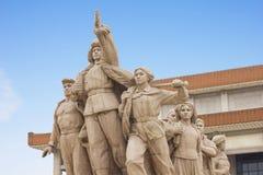 Monumento na frente do mausoléu de Mao Fotografia de Stock