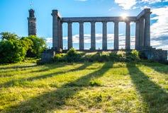 Monumento nazionale alla collina di Calton il giorno soleggiato, a Edinbu Immagini Stock Libere da Diritti
