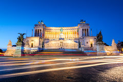 Monumento Nazionale a Vittorio Emanuele II at dawn with light trails Royalty Free Stock Photo