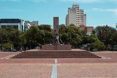 Monumento no quadrado cívico da cidade de Goiania, Brasil imagens de stock