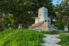 Monumento in onore della terza batteria sotto il comando di A Maksutov, che ha combattuto eroico nell'agosto 1854 con fotografia stock