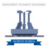 Monumento para party o marco fundando do vetor da Coreia do Norte de Pyongyang ilustração royalty free
