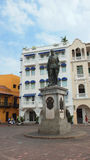 Monumento a Pedro de Heredia in Plaza de los Coches nel centro storico di Cartagine Fotografie Stock Libere da Diritti