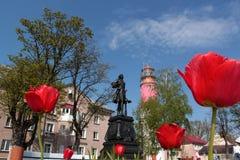 Monumento a Peter el grande, en el fondo de Foto de archivo libre de regalías
