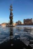 Monumento a Peter grande en el río de Moskva Fotografía de archivo