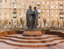 Monumento a Peter y a Fevronia de Murom Rusia fotografía de archivo