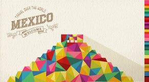 Monumento poligonal de la señal de México del viaje ilustración del vector