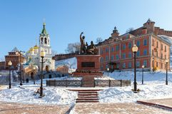 Monumento a Pozharsky y a Minin en Nizhny Novgorod Imágenes de archivo libres de regalías