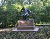 Monumento a Pushkin ao estudante do lyceum em Tsarskoye Selo Fotografia de Stock Royalty Free