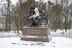 Monumento a A S Pushkin en un día nublado de diciembre Tsarskoe Selo Fotografía de archivo