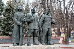 Monumento soviético en Lutsk, Ucrania imagenes de archivo