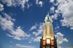 Monumento soviético Rabochiy i Kolkhoznitsa (trabajador y mujer o trabajador koljosiano y granjero colectivo) del escultor Vera M Fotos de archivo libres de regalías