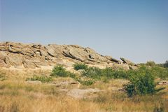 Monumento storico nella tomba della pietra di Zaporozhye Ucraina Fotografie Stock Libere da Diritti
