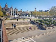 Monumento storico, palazzo nazionale situato in Spaint, Barcellona immagine stock